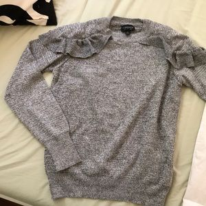 Grey Ruffled Shoulder Topshop Sweater - Size 4